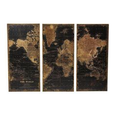 Image of Wood Standford World Map Wall Triptych - Set of 3