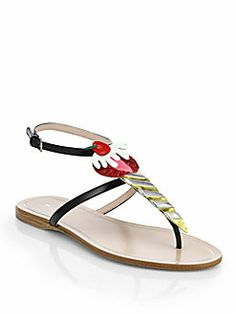 Miu Miu - Cherry Leather Thong Sandals