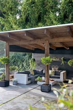 50 Beautiful Pergola Design Ideas For Your Backyard to span a deck or patio consider planting grapes or some other vine that will quickly encompass the structure as this. Backyard Patio Designs, Small Backyard Landscaping, Pergola Designs, Diy Patio, Patio Ideas, Landscaping Ideas, Garden Ideas, Backyard Ideas, Terrace Shed Ideas