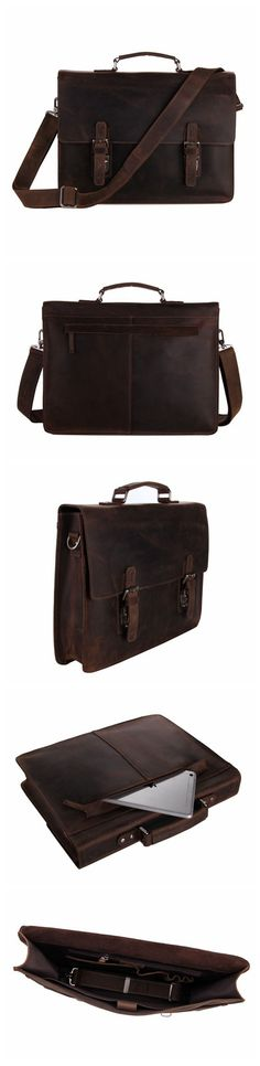 Will you find a bag you like at www.leathermessengerbags.top ? Vintage Crazy Horse Leather Briefcase Messenger Bag Laptop Bag