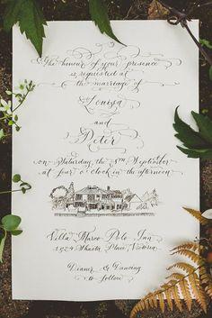 Hand Calligraphy Invitation with Custom Venue Illustration — LAURA LAVENDER CALLIGRAPHY & ILLUSTRATION