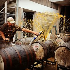 Putting this spicy, gourdy, monstrous brew into rum barrels can be a messy job, but somebody's gotta do it!