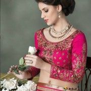 Beautiful bridal saree in pink and cream with heavy embroidery blouse.   $100.13