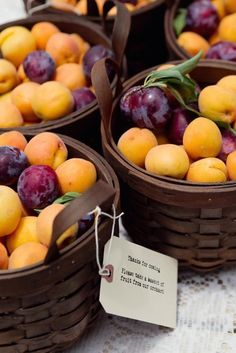 baskets of fruit from the farmers market: nothing like a fresh peach from the farmers market, nothing ever tasted so sweet