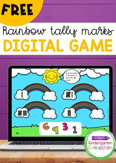 FREE Rainbow Tally Marks Digital Learning Game for Kindergarten and Pre-k students. This fun learning game is perfect to get students learning a fun math skill while letting them engage on a device - a win-win! #kindergarten #prek #teachingkindergarten #digitallearning #kindergartenteacher #kindergartenmath #distancelearning
