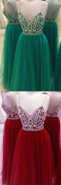 Spaghetti Straps Beading Handmade Prom Dress,Long Prom Dresses,Prom