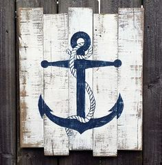 Nautical Hand Painted Distressed Reclaimed Wooden Anchor Sign                                                                                                                                                     More