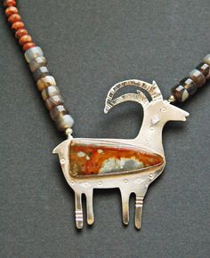 Metal-Silver-Osburn Originals: Antelope pendant with Red Butte Jasper