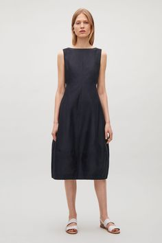 COS image 6 of Sleeveless dress with cocoon skirt in Dark Navy