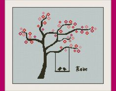 Love bird Сross stitch pattern, Instant Download, Free shipping, Cross-Stitch PDF, Love tree with bird, Valentine's Day, Heart tree,R101