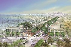 A rendering of a master plan of the Watts Corridor toward downtown that will include retail and housing. Image courtesy of Watts Re:Imagined.
