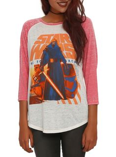 Lightweight raglan top from Star Wars: The Force Awakens with a group design that features Kylo Ren at front and center.