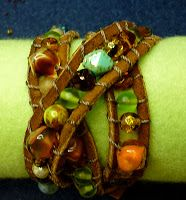 Beaded Bracelet  Everything on this Board is quick-n-easy and this one can be done with leather cord and those odd beads that came off old necklaces and bracelets - love this one.