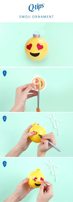 The biggest trend in holiday décor this year: emojis! DIY your own emoji holiday ornament with this easy tutorial from @awwsamm. Start by printing and cutting out your favorite emoji face for the ornament. Then trace the eyes and mouth onto your ornament using a permanent marker. Dip a Q-tips Precision Tip in paint and fill the area you just traced. Once it's dry, hang it on your tree!