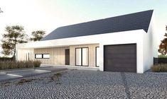 Gotowy projekt domu parterowego A-26 - NANOstudio® Modern Roof Design, Gable Roof Design, House Cladding, Modern Barn House, Bungalow Exterior, Industrial Chic, Industrial Office, Vintage Industrial, Industrial Design