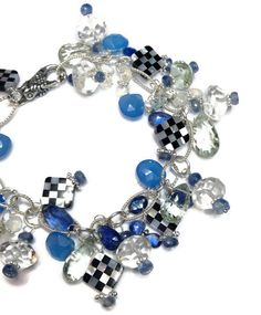 Mackenzie Childs Inspired Chunky Calcedony, Green Amethyst, Crystal Quartz & Kyanite Bracelet with Onyx and Mother Of Pearl Checker Board Beads by VanDerMuffinsJewels $118