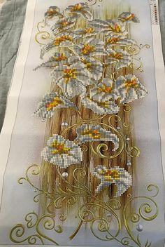 Finished Diamond Painting, Golden Lilies, Partial Mosaic, Round Rhinestones on Canvas Lily Bloom, Diamond Art, Canvas Board, New Crafts, Calla Lily, Lilies, Rhinestones, Mosaic, It Is Finished