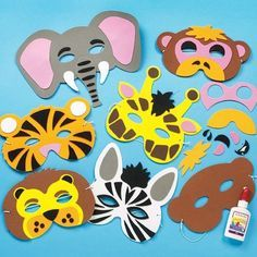 Pre-cut elasticated foam masks assorted jungle designs - monkey, tiger, lion, elephant, zebra and giraffe size approx. assorted jungle designs with our foam glue (not included) are included Craft Stick Crafts, Preschool Crafts, Diy And Crafts, Paper Crafts, Animal Masks For Kids, Mask For Kids, Borboleta Diy, Diy For Kids, Crafts For Kids
