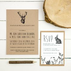Invite your guests to your wedding with our rustic 'Enchanted Forest' stationery range.We offer a complete design service so can change the fonts, colours or wording to suit your big day. We can also print with rounded corners for a lovely soft finish. Please use the 'ask seller a question' button to find out more. Once you have placed your order we will be in touch to get all of the information required to personalise your items. We will then email you a proof to amend or approve before…