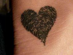 fingerprint heart tattoo