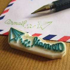 Airmail Wording Paper Plane rubber stamp by LoufoosRubberStamps, $12.99