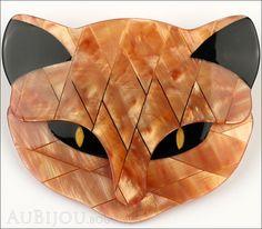 """Description: Signed Lea Stein figural Bacchus cat brooch, cellulose acetate. Designer/Makers Marks, Hallmarks, Tags: Lea Stein Paris. Age: Circa 1990's-2000's. Dimensions: 2.25""""x2"""". Condition: New, un"""