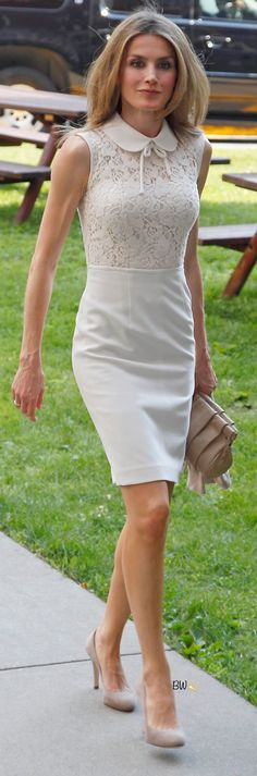 Queen Letizia of Spain looks gorgeous in her white summer dress