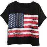 Chicnova Fashion American Flag Print Loose T-shirt