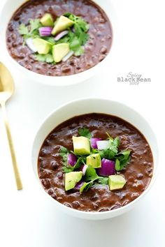 Spicy Black Bean Soup - blend half of it, add a dash of white wine vinegar plus lime. I used about 1-1.5 Tbsp of chipotle powder