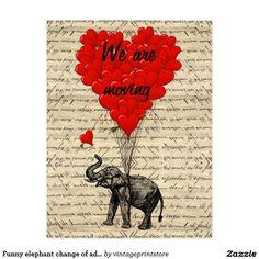 Funny elephant change of address card