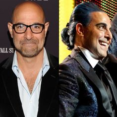 """Oscar-nominated actor Stanley Tucci also had to radically change his look to play Caesar Flickerman, the TV personality who interviews the Tributes before the games. And while the blue hair he sports comes right out of the novel, there was another detail that didn't make the cut. Tucci told Entertainment Weekly, """"[Caesar's] skin is supposed to be blue in the book, but that was way too much."""""""
