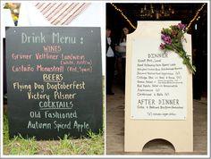 Country Wedding Menu Displays