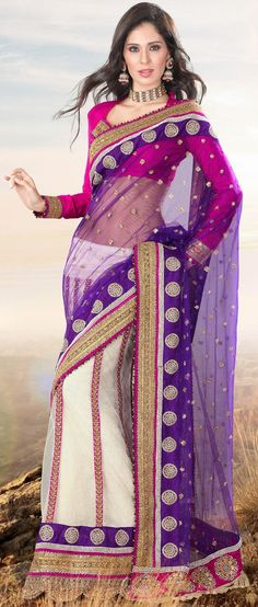 Violet and Off White Net #Lehenga Style #Saree With #Blouse @ US $178.96