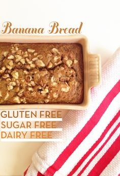 gluten free, dairy free, refined-sugar free banana bread. Good! I didn't have sorghum flour, so substituted brown rice flour and it came out fine. I also substituted choc. chips for the walnuts as I knew the kids would not eat it.