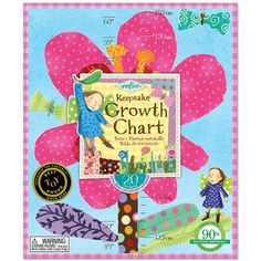 Hot Pink Flower & Fairies Growth Chart is beautifullly Illustrated by Melissa Sweet for eeBoo. Laminated chart folds up and fit Growth Chart For Girls, Growth Chart Ruler, Growth Charts, Little Acorns, Hot Pink Flowers, Paper Chains, Natural Toys, Waldorf Toys, Kids Wood