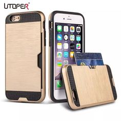 For iphone6 Stylish 2 in 1 PC + TPU Design Case For iphone 6 6S 6G Hybrid Wire Drawing Cover With Card Slot Phone Protective Bag