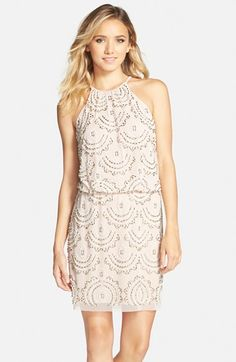 Xscape Beaded Halter Blouson Dress available at #Nordstrom
