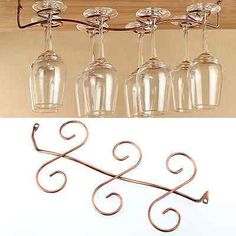 6 Wine Glass Rack Stemware Hanging Under Cabinet Holder Shelf Bar Display in Home & Garden, Kitchen, Dining & Bar, Bar Tools & Accessories | eBay