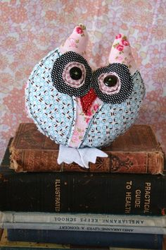 This sweet little owl is named Delilah....she is a quirky...original stitched design.  (Just between us....she is the shy owl)    Delilah is made