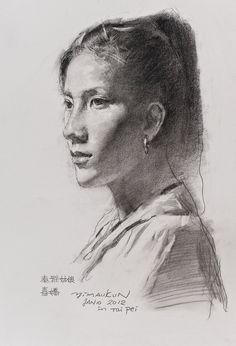 Yimaukun, Tayal Girl Xijiao, 23.6 x 19.7 inches, Charcoal Pencil, 2015