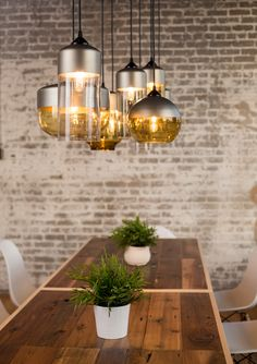 Gorgeous Parallel Series features hand-blown glass and spun aluminum pendant lights. Simple and superb - by Hennepin Made. Think they're work great with our Plumen 002 LED bulbs -> www.plumen.com