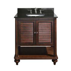 Avanity TROPICA-VS24-AW Bathroom Vanity with Black Granite Top and Sink