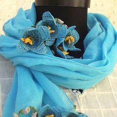 Turkish OYA Lace Flower stole/Shawl Skyblue by DaisyCappadocia