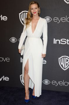 Leighton Meester is radiant in a white Galvan dress.