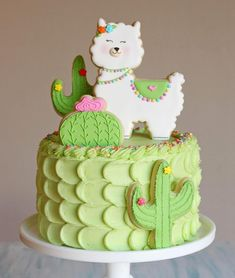 Glory on Move over unicorns, its llamas turn Llama and cactus cake for my babys birthday. Chocolate cake and cream cheese Pretty Cakes, Beautiful Cakes, Amazing Cakes, Cake Cookies, Cupcake Cakes, Kid Cakes, Fancy Cookies, Gateau Baby Shower, Cactus Cake