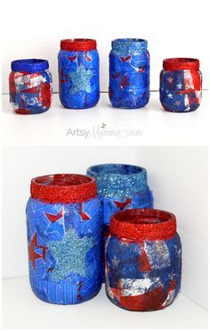 Fun, Festive, DIY 4th of July Lanterns made with upcycled baby food jars! #HugtheMess [sponsored]
