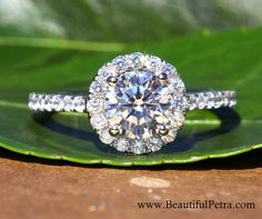 14k White gold Diamond Engagement Ring Halo by BeautifulPetra