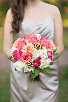 Coral and Ivory Rose Bridesmaid Bouquet | Photo: Abbey Domond Photography | Bouquet: Stew Leonard's