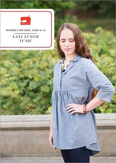 Liesl + Co. Late Lunch Tunic Sewing Pattern - This cute, comfortable, loose-fitting pull-on tunic from Liesl + Co. works great with leggings and boots or with skinny jeans and ballet flats. Itâ€s perfect for looking pulled. Tunic Sewing Patterns, Tunic Pattern, Clothing Patterns, Dress Patterns, Pattern Sewing, Pdf Patterns, Sleeve Pattern, Quilt Pattern, Women's Clothing
