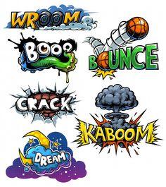 Buy Set of Comics Icons by vectorpocket on GraphicRiver. Vector set of comics icons. Pop Art Comic, Comic Art, Word Art, Doodle Art, Art, Lettering Styles, Graffiti Art Letters, Art Sketches, Street Art Graffiti